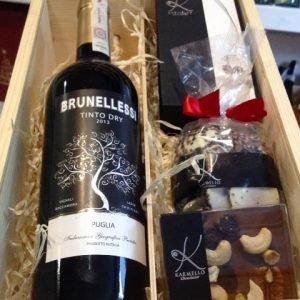 Skrzynka na wino i słodycze na prezent