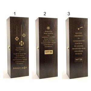 skrzyneczka szkatułka na 1 butelkę wina mahoń z logo sitodruk
