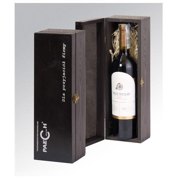 skrzyneczka szkatułka na 1 butelkę wina czarna z logo sitodruk