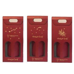 świąteczny kartonik na 2 butelki wina z otworem z logo