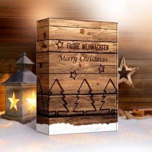 świąteczny kartonik na 3 butelki wina drewniany