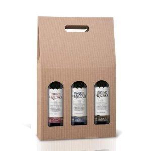 kartonik na 3 butelki wina z otworem klasyczny