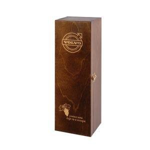 skrzyneczka szkatułka na 1 butelkę wina mahoń z logo grawer