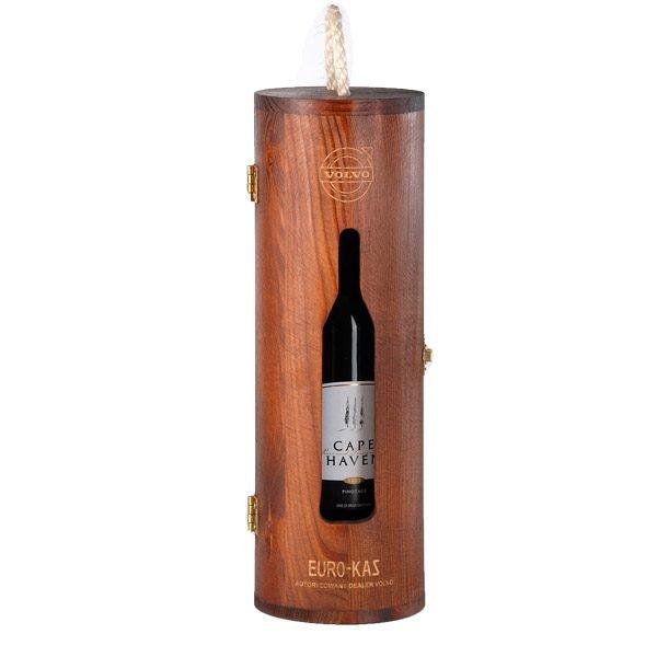okrągła skrzyneczka na 1 butelkę wina z logo grawer brązowa