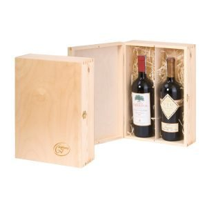 skrzyneczka szkatułka na 2 butelki wina z logo