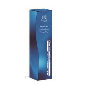 świąteczne opakowanie na wino z logo niebieskie