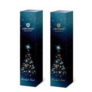świąteczne opakowanie na wino z logo z otworem niebieski